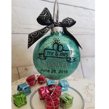 Gift for Couple - Bridal Shower, Mr & Mrs with Date Personalized Christmas Ornament with Ribbon includes a Gift Box