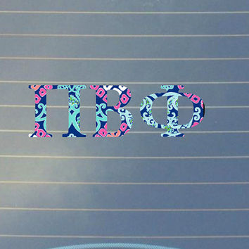 Lilly Pulitzer Inspired Pi Beta Phi Car Decal | Pi Beta Phi Car Sticker | Pi Beta Phi Sorority | Pi Beta Phi Laptop Decal | Greek Car | 169