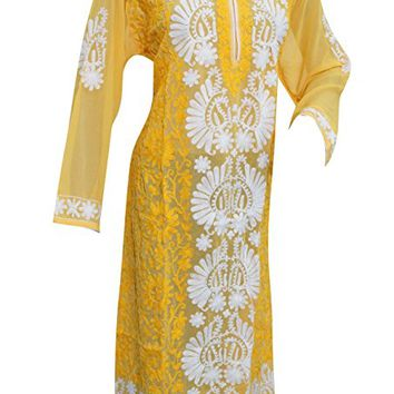Boho chic Long Tunic Yellow/White Floral Embroidered Georgette Hippy Dress xl