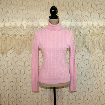Pink Turtleneck Sweater Wool Cashmere Angora Cable Knit Small Womens Sweaters Pink Sweater Vintage J Crew Womens Clothing