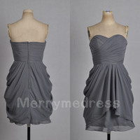Grey Ruffled Sweetheart Strapless Pick-ups A-Line Short Bridesmaid Dress, Mini Chiffon Formal Evening Party Prom Dress New Homecoming Dress