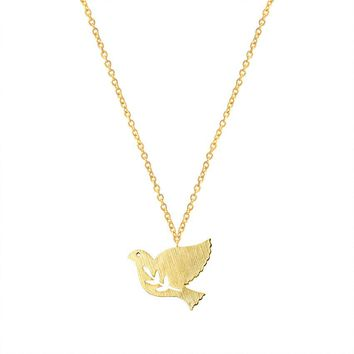 GORGEOUS TALE Gold Silver Bijoux Tattoo Choker 2017 Fashion Jewelry Best Friends Stainless Steel Peace Dove Charm Bird Necklace