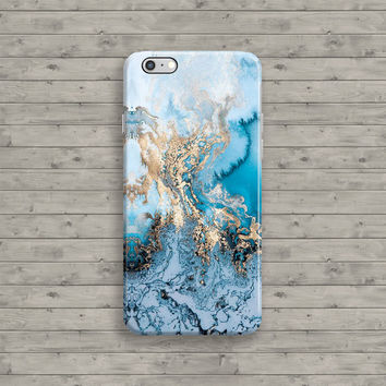 Marble iPhone 6 Case, Marble iPhone Case, Blue Gold iPhone 6S case, iPhone 6 Plus, iPhone 6S Plus 4 4S 5 5S 5C Cool Granite Unique Cover