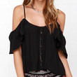 Black Cutout Straps Chiffon Top