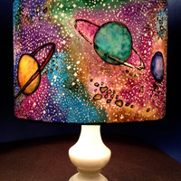 Space Shade, Hand Silk Painted Lamp Shade, 30cm Diameter Drum, Made To Order.
