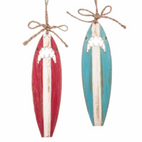Shark Surfboard Holiday Ornaments - Set of 2