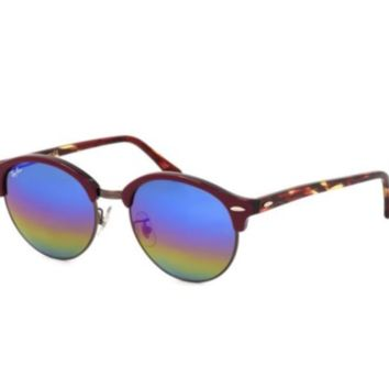 Ray Ban Sunglasses RB4246F-1222/C2 Clubround Blue Rainbow Lens Bordeaux Frames
