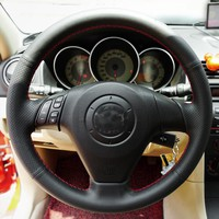 Free Shipping High Quality cowhide Top Layer Leather handmade Sewing Steering wheel covers protect For Mazda 6 Mazda 3 Mazda 5