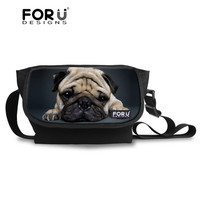 FORUDESIGNS Animal Pug Dog Messenger Bag Cross body Bag for Women Vintage Teenager Girls Travel Messenger-bag Over Shoulder