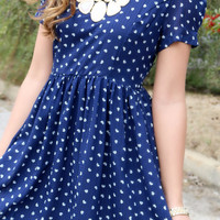 Love Me Like You Mean It Navy Heart Print Dress
