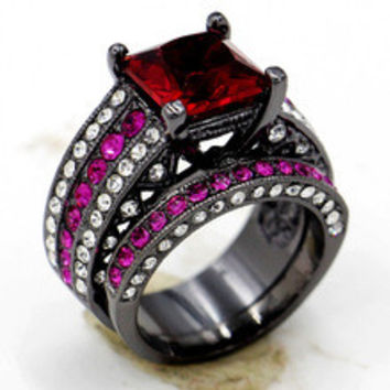 Victoria Wieck Engagement Garnet Crystal Simulated Diamond 10KT Black Gold Filled 2-in-1 Wedding band Ring Sets Sz 5-11 Gift
