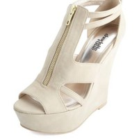 Cut-Out Zip-Up Peep Toe Platform Wedges by Charlotte Russe - Taupe