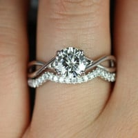 Original Erika 14kt White Gold Round FB Moissanite Double Twist Wedding Set (Other metals and stone options available)