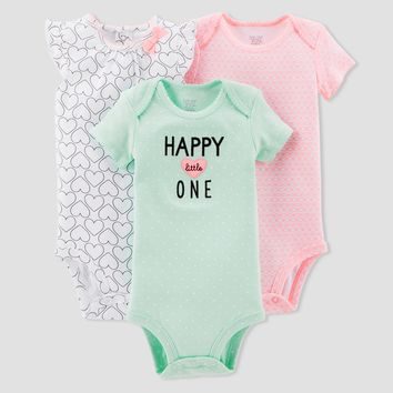 Baby Girls' 3pk Hearts Bodysuit Set - Just One You™ Made by Carter's® Mint