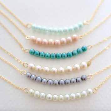 Delicate Pearl Necklace, Pearl Bar Necklace / Gold Filled Chain or Sterling Silver Chain / Bridesmaids Gift Necklace just1gold