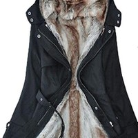 Fleece Faux Fur Warm Lining Coat Womens 2 Fur Lined Hoodie Long Jackets