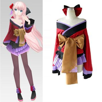 Vocaloid Project Diva Geisha Luka Cosplay Kimono Uniform Women Girls Sexy Costumes Free Shipping