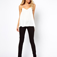 ASOS PETITE Cami With Backless Detail And Plunge Neck