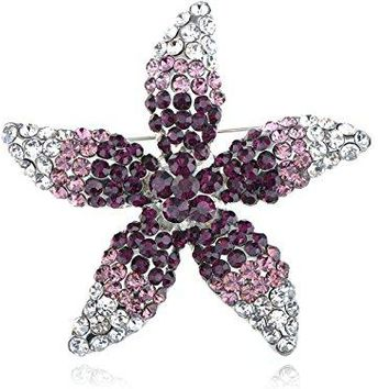 Alilang Womens Silvery Tone Ombre Purple Rhinestones Floral Starfish Flower Brooch Pin