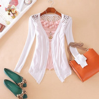 8 Candy Color Sweet Women Lady Girl Floral Hollow Thin Knitting Cardigan Blouse/ Sweater/ Top AP = 1958587652