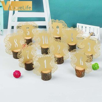 10pcs/set Rustic Wedding Table Number Table Cards with Wooden Holder Vintage Wedding Decoration Event Party Supplies