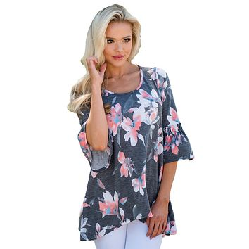 Z| Chicloth Mid Length Bell Sleeve Charcoal Floral Blouse