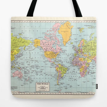 World Map Tote Bag, travel theme tote, everything bag, allover print, gift for mom, beach bag, travel bag