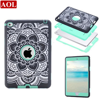 For iPad mini 4 7.9inch Silicon + PC Cute Laser Carving Floral Combo 3 in 1 Heavy Duty tablet PC protective case cover 4 colors