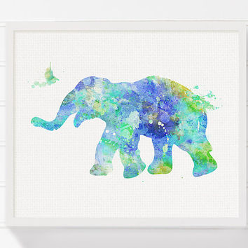 Watercolor Elephant, Childrens Wall Art, Kids Wall Art, Nursery Wall Decor, Elephant Art, Elephant Print, Elephant Painting, Elephant Poster