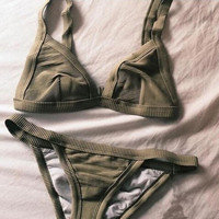 Fashion Army Green Beach Bikini Set Swimsuit Swimwear
