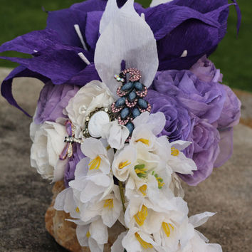 Cascade Bouquet Purple Calla Lilies and roses bridal wedding flowers