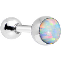 16 Gauge 5mm Imitation White Opal Tragus Cartilage Earring