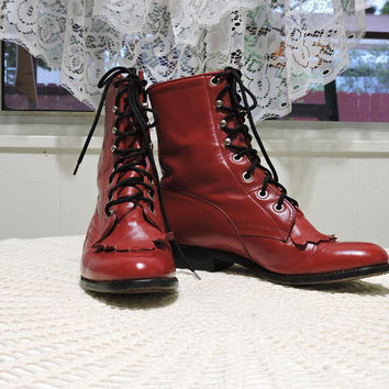 Red leather lace up ankle boots / size 5.5 / Tony Lama George Strait roper boots / hipster punk red fringed ankle boots / red combat boots
