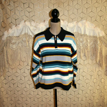 80s Vintage Sweater Womens Half Zip Pullover 1980s Striped Grunge Sweater Large Oversized Slouchy Boxy Striped Sweater Vintage Clothing