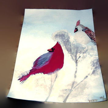 Winter Cardinals Original Signed and Dated Acrylic Painting Birds Nature Lovers Free Shipping