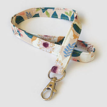 Boho Floral Lanyard / Flowers / Cute Keychain / Pretty Lanyard / Key Lanyard / ID Badge Holder / Fabric Lanyard / Bohemian Flowers / Girly