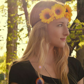 Flower Crown Floral Headband Floral Crown Yellow Flower Halo Floral Headpiece Hippie Fashion Festival Accessory Hippie Halo Bohemian