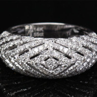 Unique Pave 1.42CT H/SI Diamond 14K White Gold Wedding Band Engagement Ring 4.7g