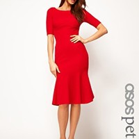 ASOS PETITE Exclusive Seamed Bodycon Dress With Trumpet Hem at asos.com