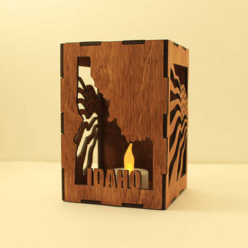 Idaho tealight lantern Wood candle holder Shadow box Led flameless candle Laser cut candleholder State candleholder USA decor Night light