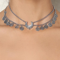 Silver Layered Coin Choker