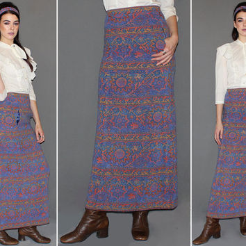 Vintage 60s 70s High Waisted TAPESTRY Skirt / Wool Maxi Skirt / Floral Sunset / Hippie, Boho, Groovy / Matching Headband / Xs, Small