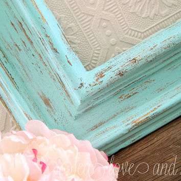 large rustic picture frame open empty frame mint green wall decor