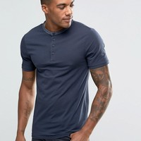 River Island T-Shirt With Grandad Neck In Navy at asos.com