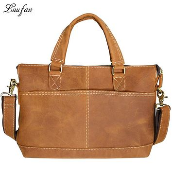 Men's Crazy Horse leather briefcase Genuine Leather laptop handbag Vintage Cowhide Portfolio Shoulder Bag work tote bag