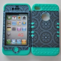 Apple Iphone 4 4s Blue Circular Snap On Over Teal Silicone Case:Amazon:Cell Phones & Accessories