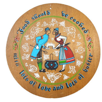 Folk Art Trivet, Pennsylvania Dutch Painted Wood Wall Plaque, Lots of Love and Butter, Distressed Farmhouse Kitchen Decor, Cooking Proverb