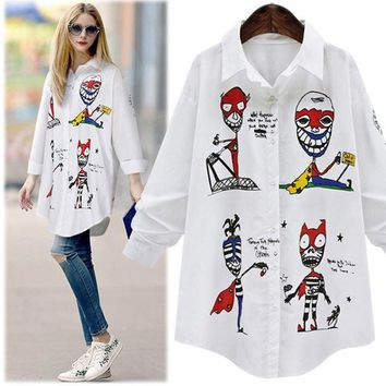 Women Swallowtail Long Shirt Turn-down Collar Skull Casual Long Sleeve White Blouse