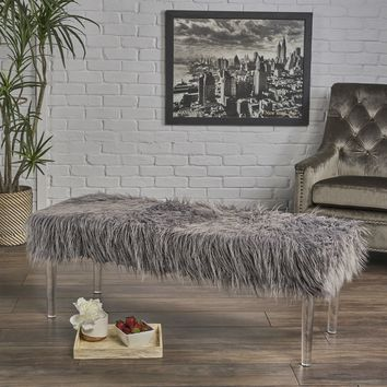 Klamma Glam Faux Fur Long and Curly Furry Ottoman