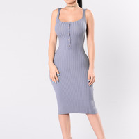 Staying Overnight Dress - Denim Blue